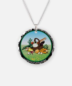 Living Organic Wisconsin Necklace Circle Charm