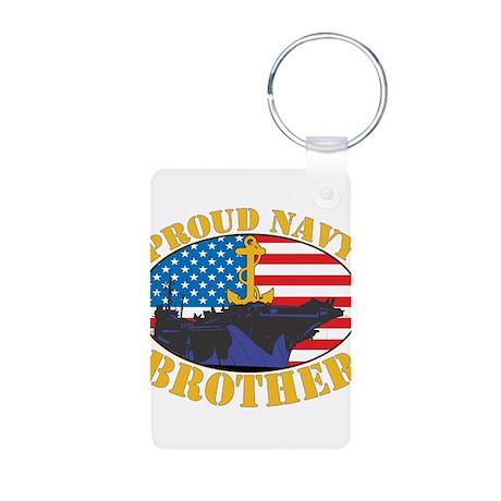 Proud Navy Brother Aluminum Photo Keychain