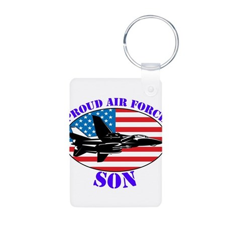 Proud Air Force Son Aluminum Photo Keychain