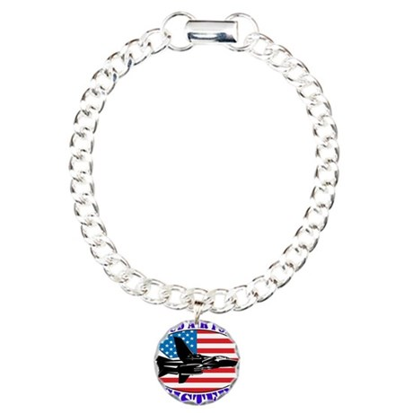Proud Air Force Sister Charm Bracelet, One Charm