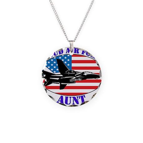 Proud Air Force Aunt Necklace Circle Charm