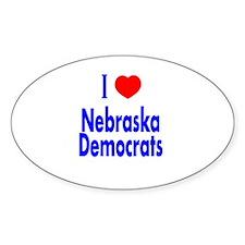 I Love Nebraska Democrats Oval Decal