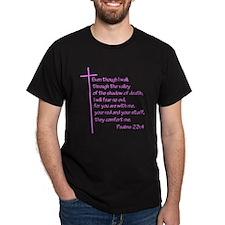 Psalms23-4 Pink No Shadow T-Shirt