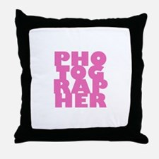 photographer (pink) Throw Pillow