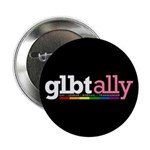 "GLBT Ally Black 2.25"" Button (100 pack)"