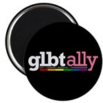 "GLBT Ally Black 2.25"" Magnet (100 pack)"