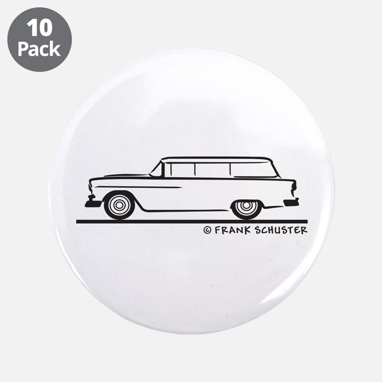 """1955 Chevrolet Stationwagon 3.5"""" Button (10 pack)"""