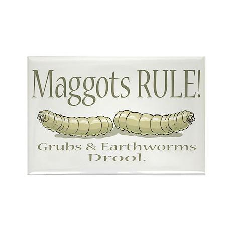 Maggots Rule Rectangle Magnet