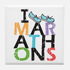 I Run Marathons Tile Coaster