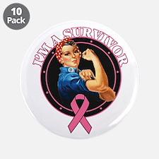 """BreastCancer I'mASurvivor 3.5"""" Button (10 pack)"""