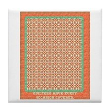 Country Christmas Quilter Cov Tile Coaster