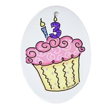 13th Birthday Cupcake Oval Ornament