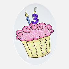 13th Birthday Cupcake Oval Ornament