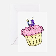 13th Birthday Cupcake Greeting Cards (Pk of 10