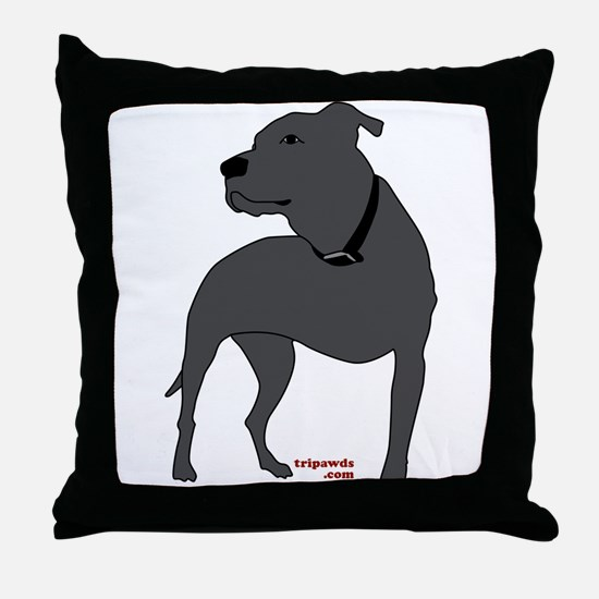 Tripawds Front Leg Pit Bull Throw Pillow