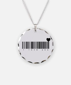 Bar Code I Love You Necklace