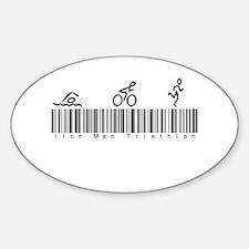 Bar Code Iron Man Triathlon Sticker (Oval)