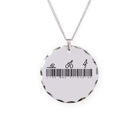 Bar Code Iron Man Triathlon Necklace Circle Charm
