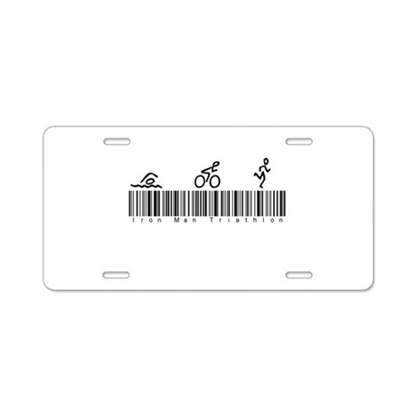 Bar Code Iron Man Triathlon Aluminum License Plate