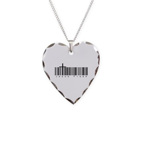 Bar Code Jesus Freak Necklace Heart Charm