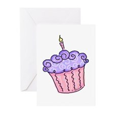 Pink and Purple Cupcake Greeting Cards (Package of