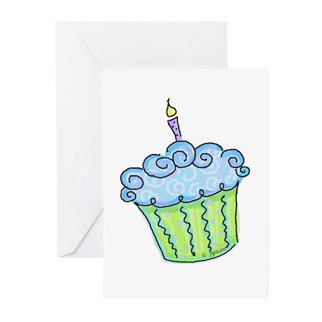 Cute Cupcake (blue) Greeting Cards (Pk of 10)