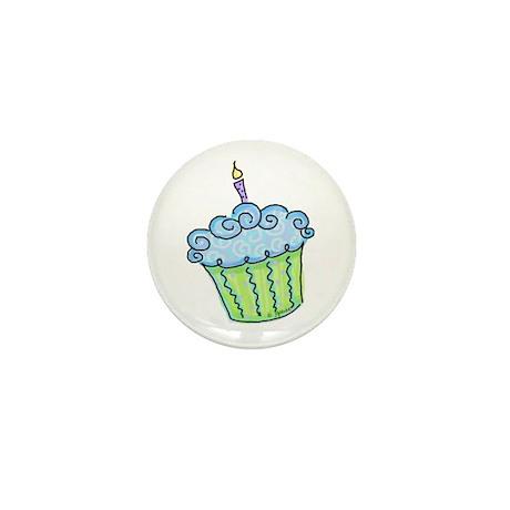 Cute Cupcake (blue) Mini Button (10 pack)
