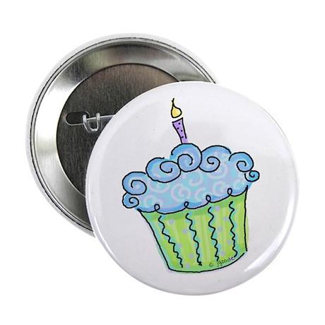 "Cute Cupcake (blue) 2.25"" Button (10 pack)"
