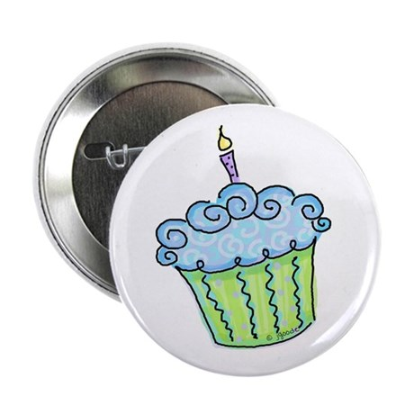 "Cute Cupcake (blue) 2.25"" Button (100 pack)"