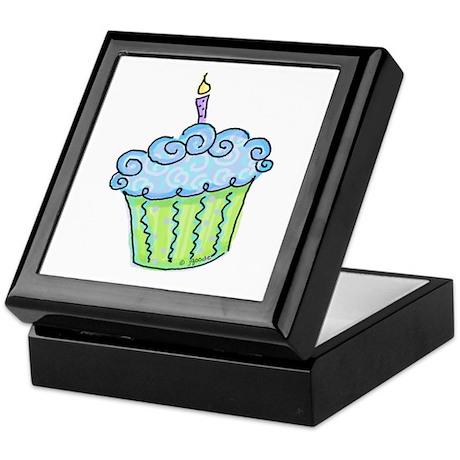 Cute Cupcake (blue) Keepsake Box