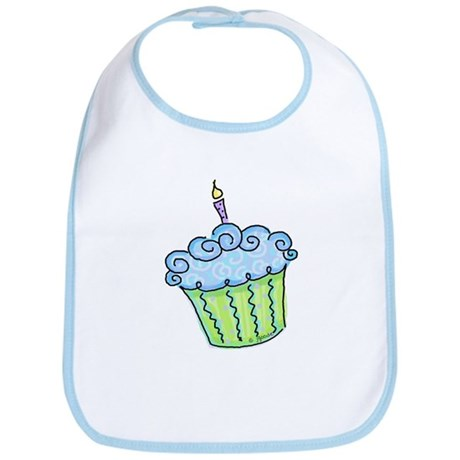 Cute Cupcake (blue) Bib