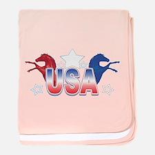 USA Horses baby blanket