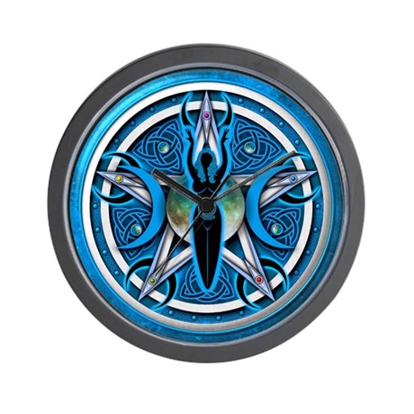 Pentacle of the Blue Goddess Wall Clock