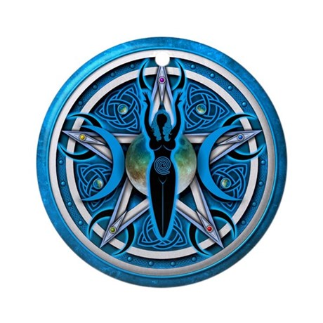 Pentacle of the Blue Goddess Ornament (Round)