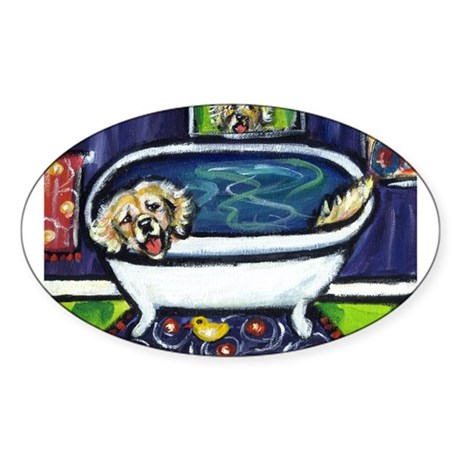 GOLDEN RETRIEVER bath Oval Sticker
