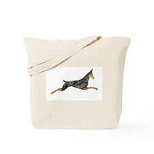 Leaping Black Doberman Tote Bag