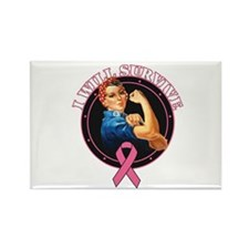 Breast Cancer I Will Survive Rectangle Magnet (10