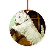 WAITING - West Highland White Ornament (Round)
