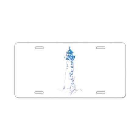 Blue Lighthouse Aluminum License Plate