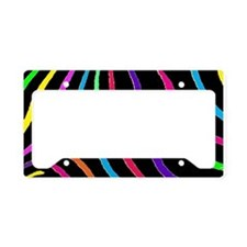 Rainbow Zebra Print License Plate Holder