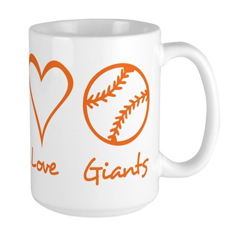 Peace, Love, Giants Large Mug