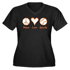 Peace, Love, Giants Women's Plus Size V-Neck Dark
