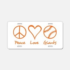 Peace, Love, Giants Aluminum License Plate