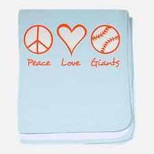 Peace, Love, Giants baby blanket