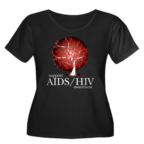 AIDS/HIV Tree Women's Plus Size Scoop Neck Dark T-