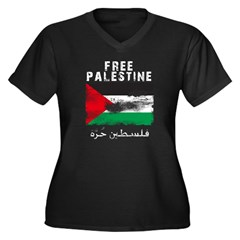 www.palestin Women's Plus Size V-Neck Dark T-Shirt