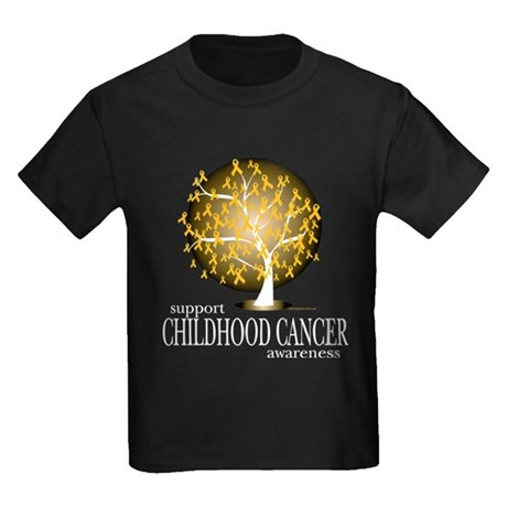 Childhood Cancer Tree Kids Dark T-Shirt