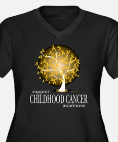 Childhood Cancer Tree Women's Plus Size V-Neck Dar