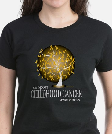 Childhood Cancer Tree Women's Dark T-Shirt