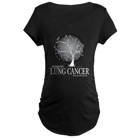 Lung Cancer Tree Maternity Dark T-Shirt